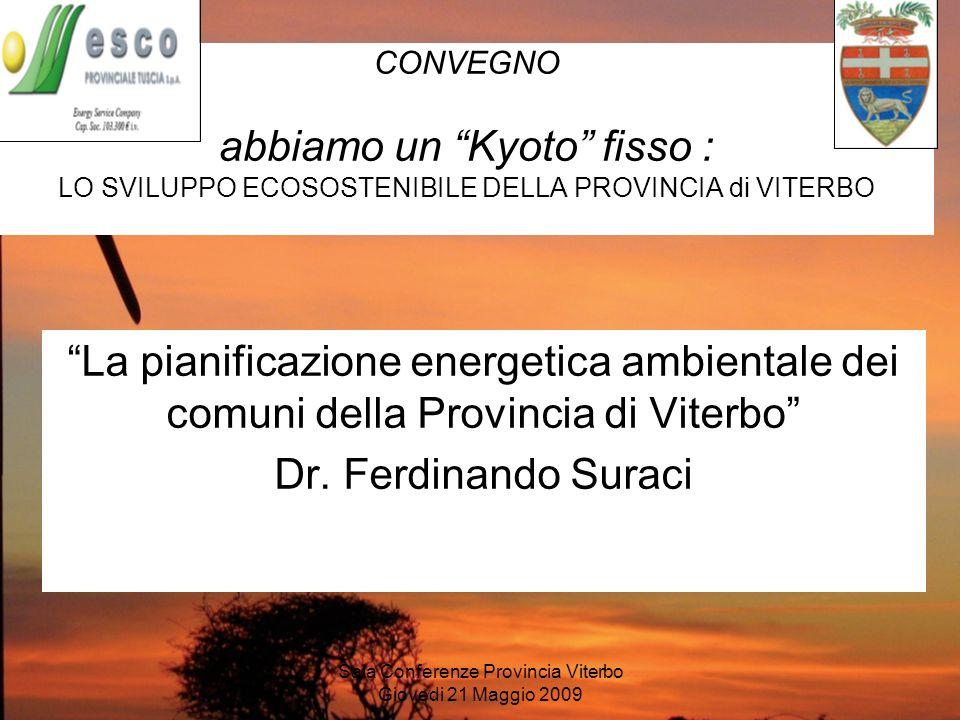 Sala Conferenze Provincia Viterbo Giovedi 21 Maggio 2009 La pianificazione energetica ambientale dei comuni della Provincia di Viterbo Dr. Ferdinando