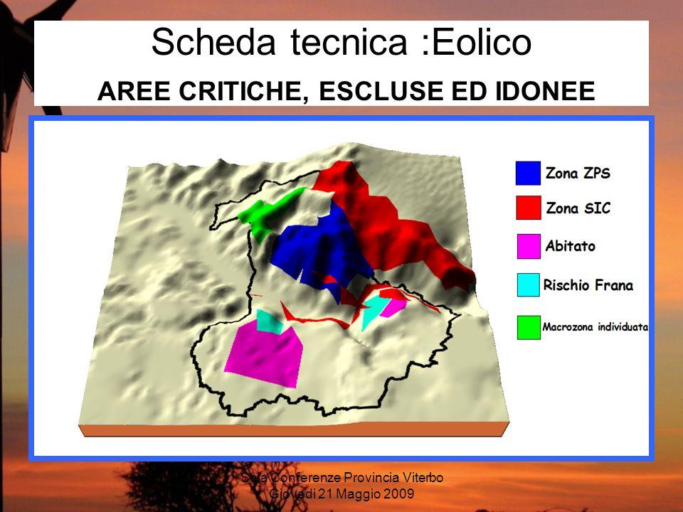 Sala Conferenze Provincia Viterbo Giovedi 21 Maggio 2009 Scheda tecnica :Eolico AREE CRITICHE, ESCLUSE ED IDONEE