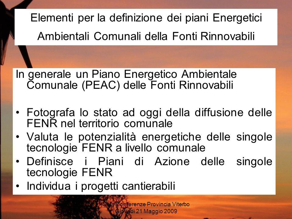 Sala Conferenze Provincia Viterbo Giovedi 21 Maggio 2009 Elementi per la definizione dei piani Energetici Ambientali Comunali della Fonti Rinnovabili