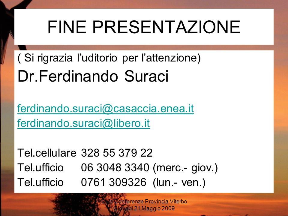 Sala Conferenze Provincia Viterbo Giovedi 21 Maggio 2009 FINE PRESENTAZIONE ( Si rigrazia luditorio per lattenzione) Dr.Ferdinando Suraci ferdinando.s