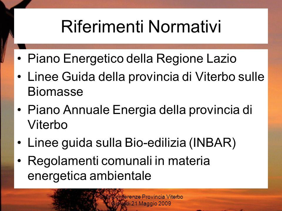 Sala Conferenze Provincia Viterbo Giovedi 21 Maggio 2009 Obiettivi di un PEAC Lobiettivo di un PEAC, promuovendo e diffondendo luso delle FONTI ENERGETICHE NUOVE E RINNOVABILI (FENR), è quello di: 1) Aiutare il decisore pubblico nel pianificare le attività di valorizzazione delle risorse energetiche territoriali (sole, vento, biomassa, acqua) per uno sviluppo ecosostenibile del territorio; 2) Ridurre la dipendenza dalle fonti fossili del territorio dellEnte Locale per la salvaguardia dellambiente e a vantaggio delleconomia totale; 3) Definire gli obiettivi territoriali nella riduzione delle emissioni dei gas climalteranti in linea con il protocollo di Kyoto.