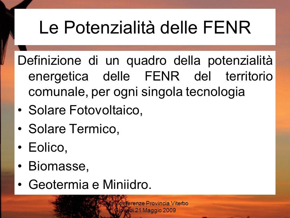 Sala Conferenze Provincia Viterbo Giovedi 21 Maggio 2009 Le Potenzialità delle FENR Definizione di un quadro della potenzialità energetica delle FENR