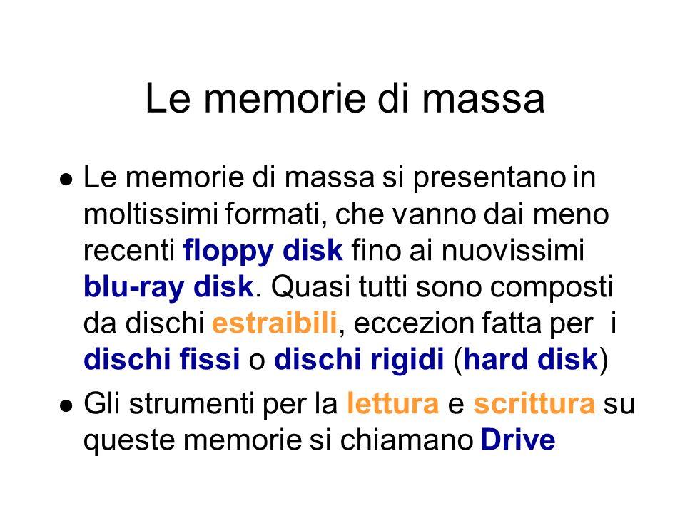 Le memorie di massa Le memorie di massa hanno lo scopo di conservare i programmi e i dati in modo permanente Le memorie di massa più diffuse sono collocate allinterno del case (memorie interne) Le memorie di massa che possono essere collegate esternamente al computer, vengono chiamate memorie esterne
