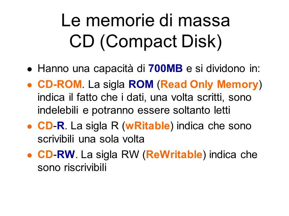 Le memorie di massa DVD (Digital Versatile Disk) Vengono usati soprattutto per memorizzare film in formato digitale ma possono contenere anche i normali file.