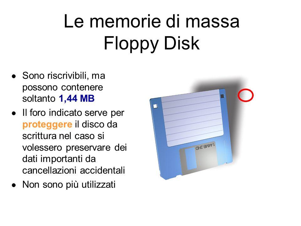 Le memorie di massa CD (Compact Disk) Hanno una capacità di 700MB e si dividono in: CD-ROM.