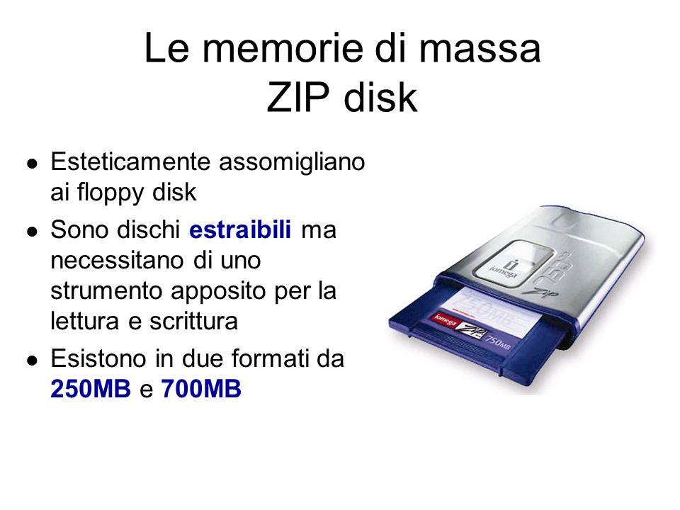Le memorie di massa Floppy Disk Sono riscrivibili, ma possono contenere soltanto 1,44 MB Il foro indicato serve per proteggere il disco da scrittura nel caso si volessero preservare dei dati importanti da cancellazioni accidentali Non sono più utilizzati