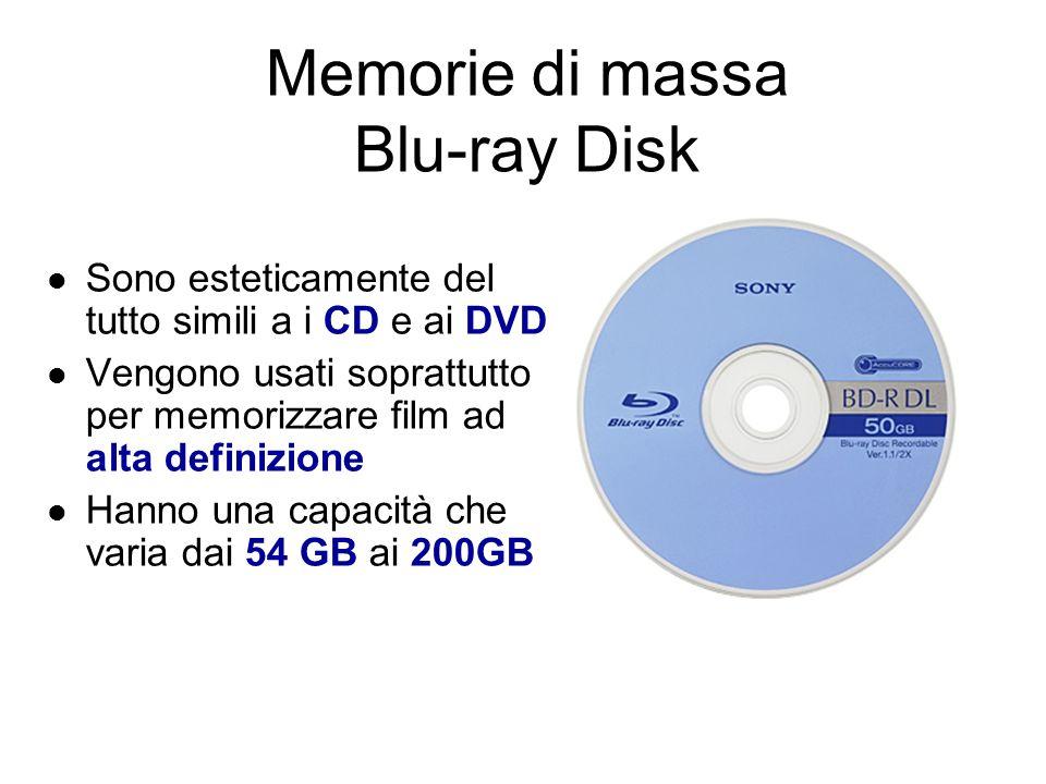 Le memorie di massa ZIP disk Esteticamente assomigliano ai floppy disk Sono dischi estraibili ma necessitano di uno strumento apposito per la lettura e scrittura Esistono in due formati da 250MB e 700MB