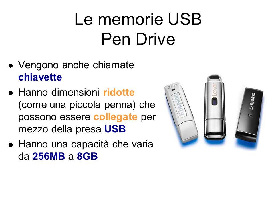 Le memorie USB Rappresentano una tipologia di memorie estraibili collegate con la porta USB del computer Le principali sono le seguenti: Pen Drive Hard Disk USB Solid State Disk Jet Flash