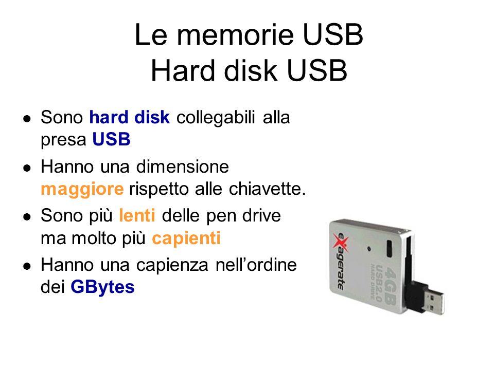 Le memorie USB Pen Drive Vengono anche chiamate chiavette Hanno dimensioni ridotte (come una piccola penna) che possono essere collegate per mezzo della presa USB Hanno una capacità che varia da 256MB a 8GB