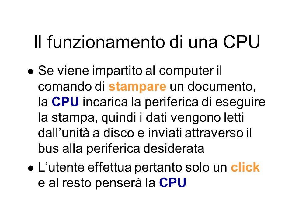 Il funzionamento di una CPU Il computer funziona grazie ad un programma La CPU durante il suo funzionamento, non fa altro che eseguire le istruzioni di un programma Il programma è formato da istruzioni scritte attraverso un linguaggio apposito, chiamato linguaggio macchina, composto da istruzioni scritte in forma binaria La CPU è in grado di eseguire milioni di istruzioni al secondo e, in base al tipo di istruzione, incarica altri dispositivi di eseguire alcuni compiti