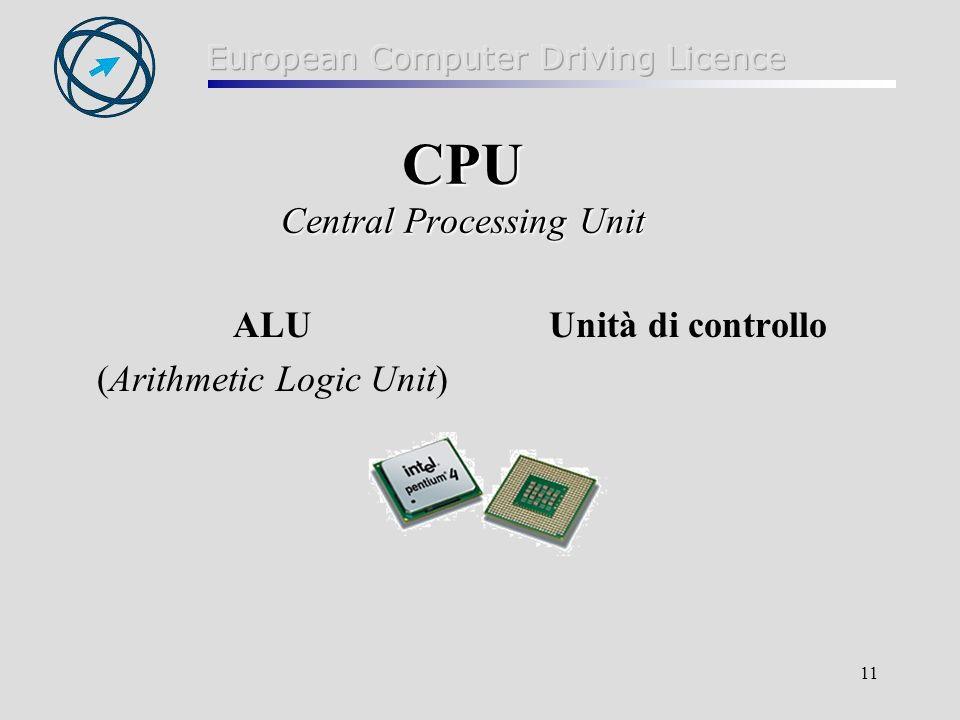 11 CPU Central Processing Unit ALU (Arithmetic Logic Unit) Unità di controllo