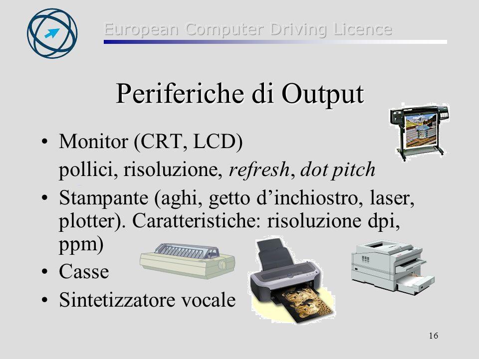 16 Periferiche di Output Monitor (CRT, LCD) pollici, risoluzione, refresh, dot pitch Stampante (aghi, getto dinchiostro, laser, plotter). Caratteristi