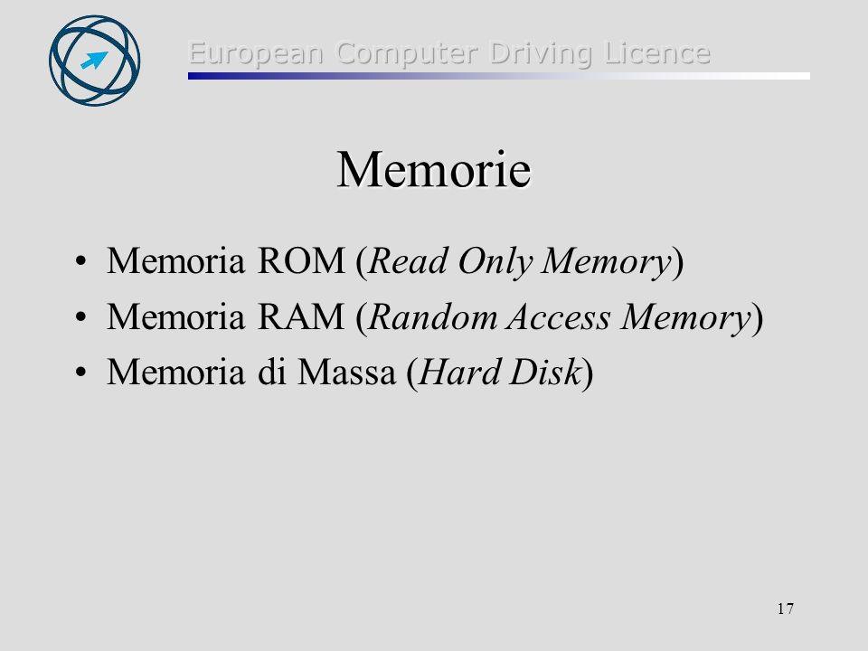 17 Memorie Memoria ROM (Read Only Memory) Memoria RAM (Random Access Memory) Memoria di Massa (Hard Disk)