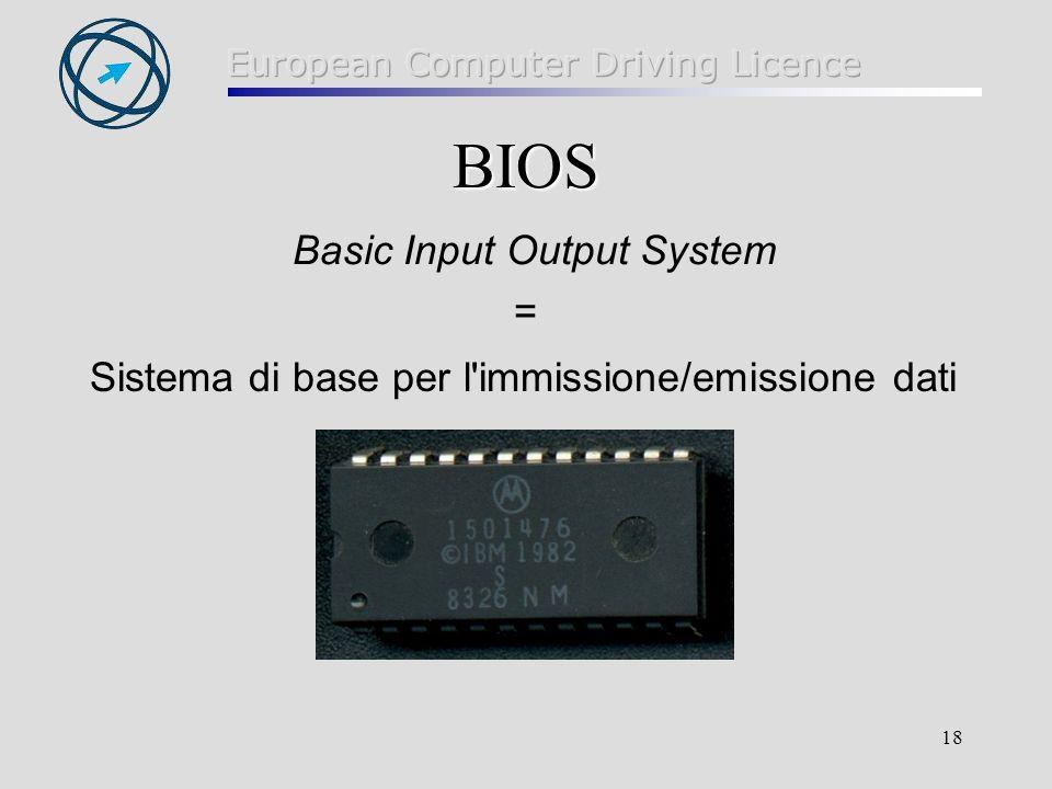 18 BIOS BIOS Basic Input Output System = Sistema di base per l immissione/emissione dati