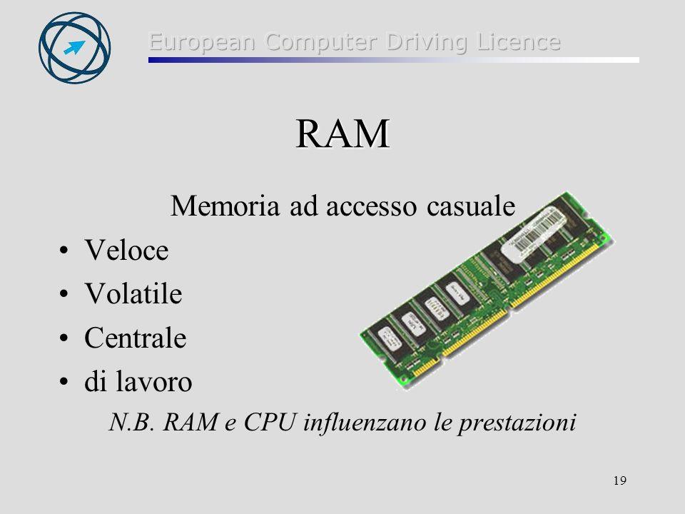 19 RAM Memoria ad accesso casuale Veloce Volatile Centrale di lavoro N.B. RAM e CPU influenzano le prestazioni