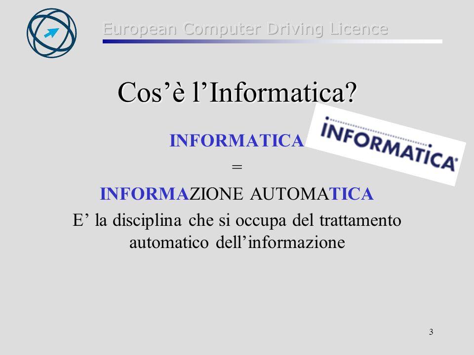 3 Cosè lInformatica? INFORMATICA = INFORMAZIONE AUTOMATICA E la disciplina che si occupa del trattamento automatico dellinformazione