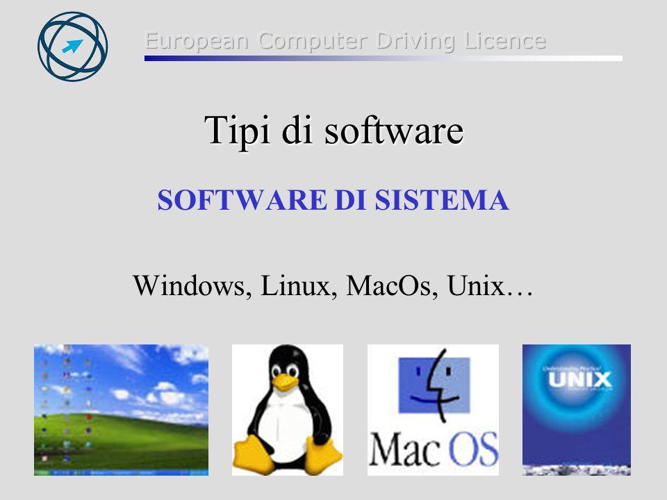 30 Tipi di software SOFTWARE DI SISTEMA Windows, Linux, MacOs, Unix…