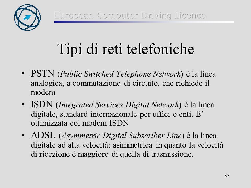 33 Tipi di reti telefoniche PSTN (Public Switched Telephone Network) è la linea analogica, a commutazione di circuito, che richiede il modem ISDN (Integrated Services Digital Network) è la linea digitale, standard internazionale per uffici o enti.