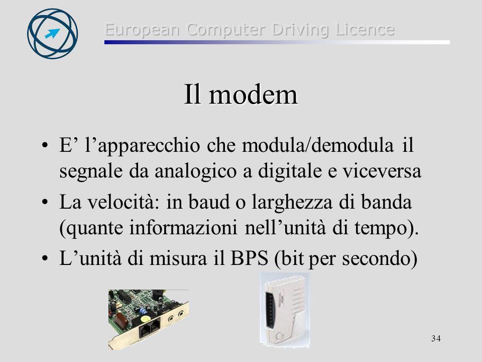 34 Il modem E lapparecchio che modula/demodula il segnale da analogico a digitale e viceversa La velocità: in baud o larghezza di banda (quante inform