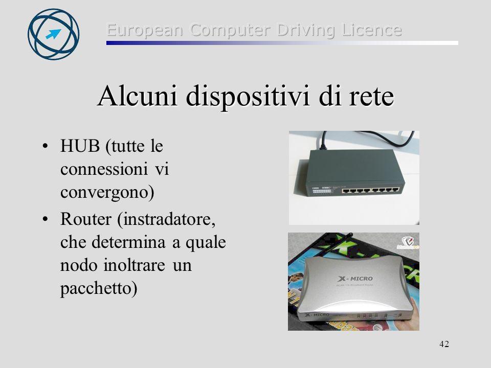 42 Alcuni dispositivi di rete HUB (tutte le connessioni vi convergono) Router (instradatore, che determina a quale nodo inoltrare un pacchetto)
