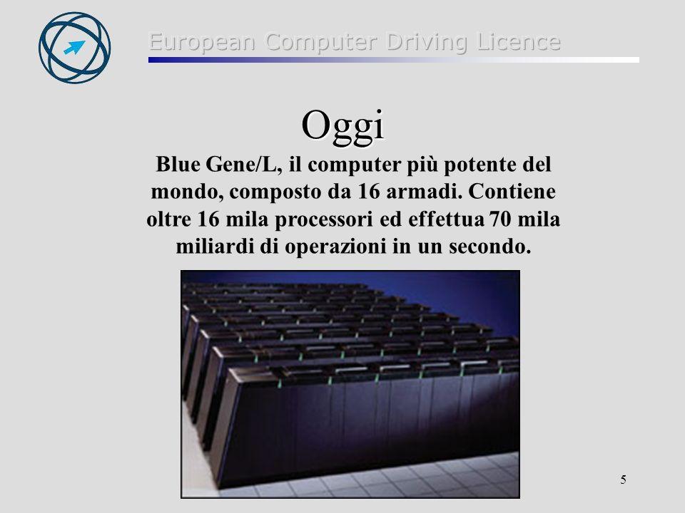 5 Oggi Blue Gene/L, il computer più potente del mondo, composto da 16 armadi. Contiene oltre 16 mila processori ed effettua 70 mila miliardi di operaz