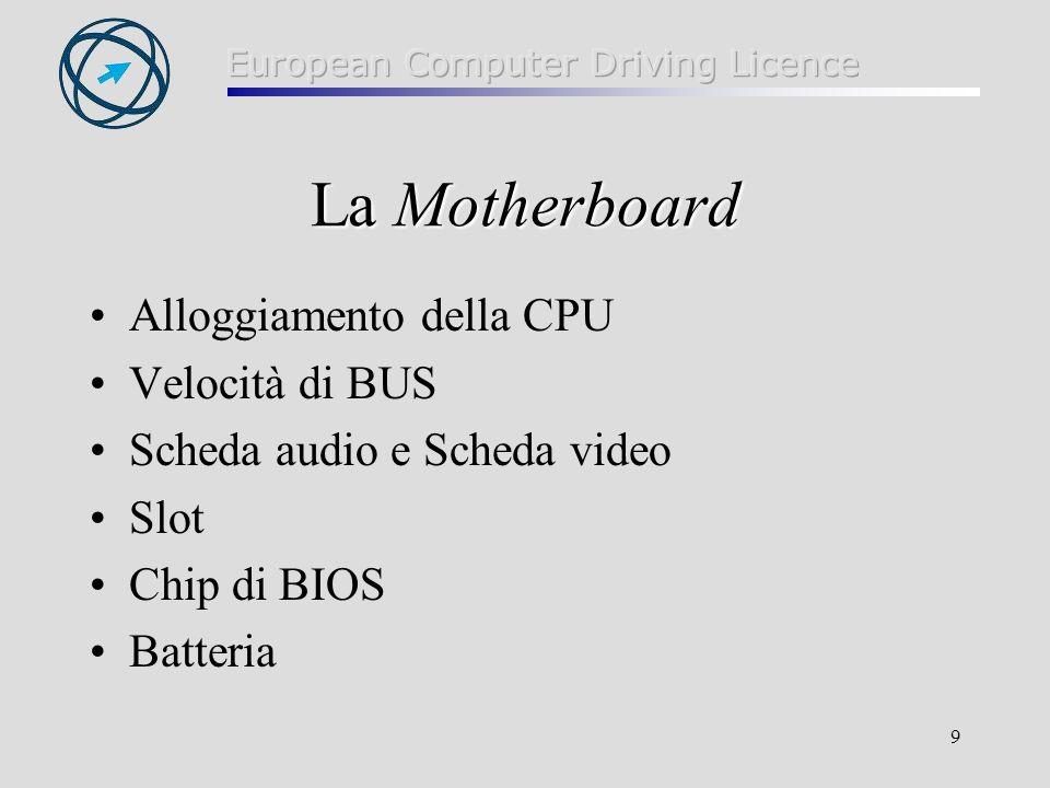9 La Motherboard Alloggiamento della CPU Velocità di BUS Scheda audio e Scheda video Slot Chip di BIOS Batteria