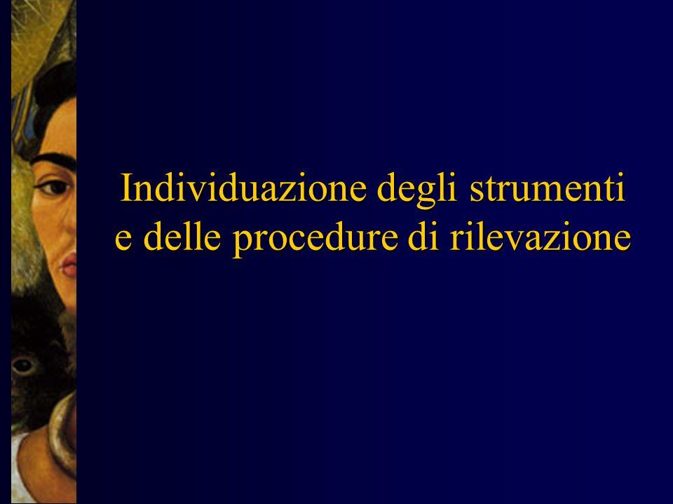 Individuazione degli strumenti e delle procedure di rilevazione