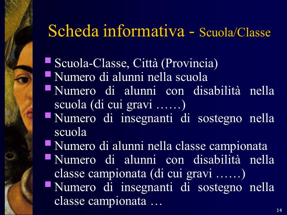 14 Scheda informativa - Scuola/Classe Scuola-Classe, Città (Provincia) Numero di alunni nella scuola Numero di alunni con disabilità nella scuola (di