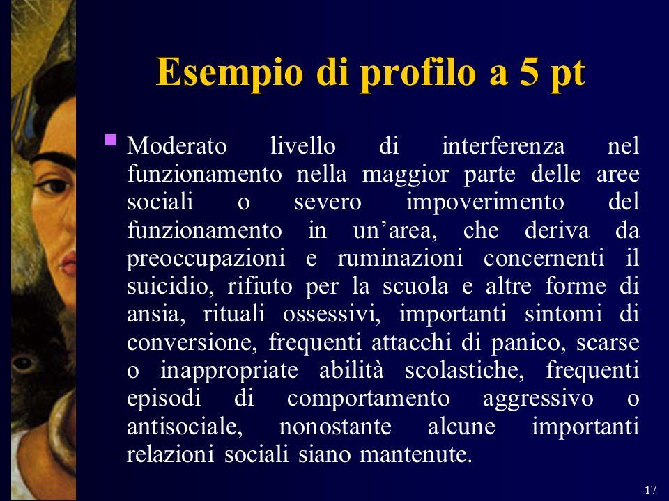 17 Esempio di profilo a 5 pt Moderato livello di interferenza nel funzionamento nella maggior parte delle aree sociali o severo impoverimento del funz