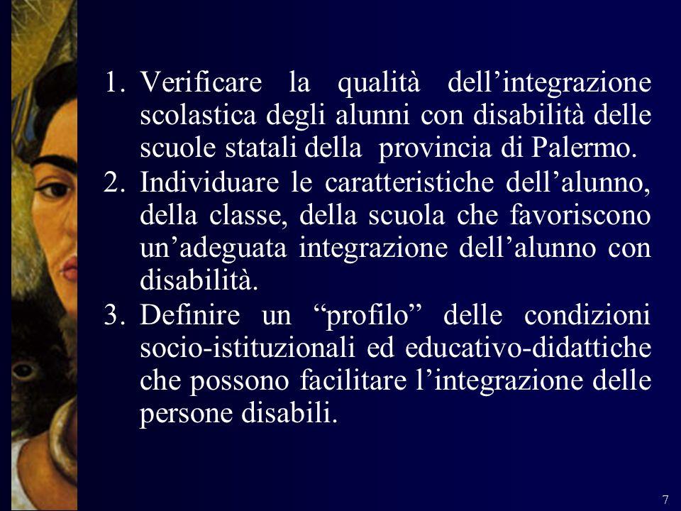 7 1.Verificare la qualità dellintegrazione scolastica degli alunni con disabilità delle scuole statali della provincia di Palermo. 2.Individuare le ca