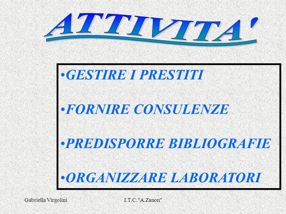 Gabriella VirgoliniI.T.C. A.Zanon GESTIRE I PRESTITI FORNIRE CONSULENZE PREDISPORRE BIBLIOGRAFIE ORGANIZZARE LABORATORI