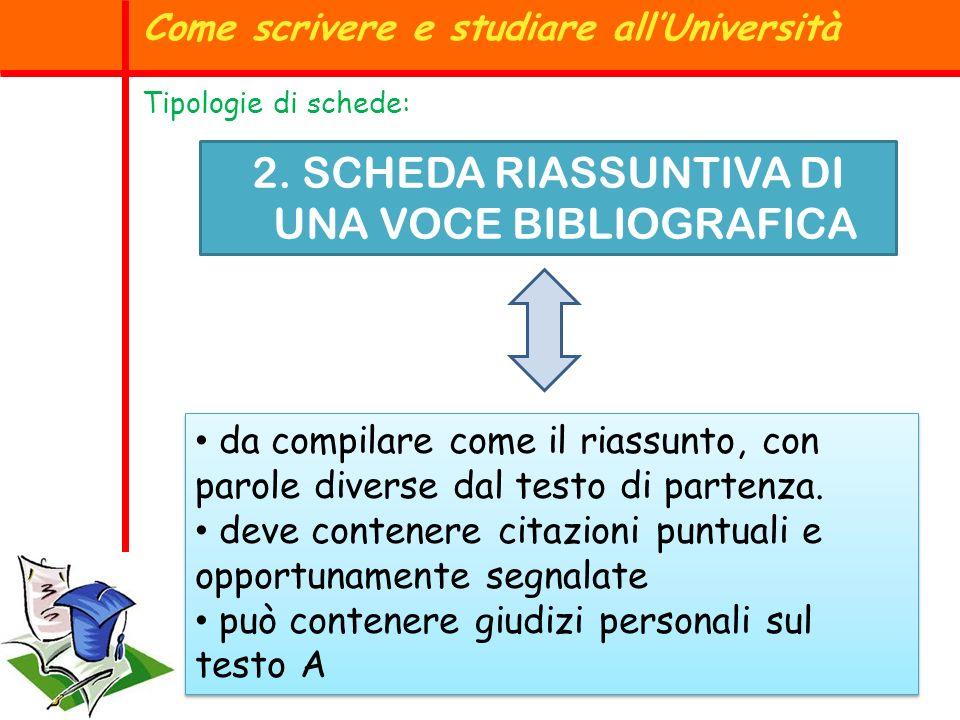 2. SCHEDA RIASSUNTIVA DI UNA VOCE BIBLIOGRAFICA Come scrivere e studiare allUniversità Tipologie di schede: da compilare come il riassunto, con parole