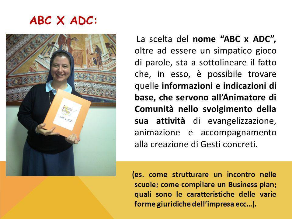 ABC X ADC: La scelta del nome ABC x ADC, oltre ad essere un simpatico gioco di parole, sta a sottolineare il fatto che, in esso, è possibile trovare quelle informazioni e indicazioni di base, che servono allAnimatore di Comunità nello svolgimento della sua attività di evangelizzazione, animazione e accompagnamento alla creazione di Gesti concreti.