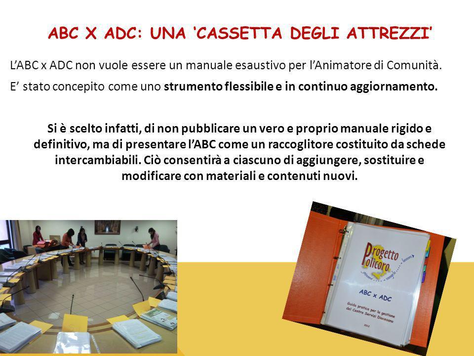 ABC X ADC: UNA CASSETTA DEGLI ATTREZZI LABC x ADC non vuole essere un manuale esaustivo per lAnimatore di Comunità.