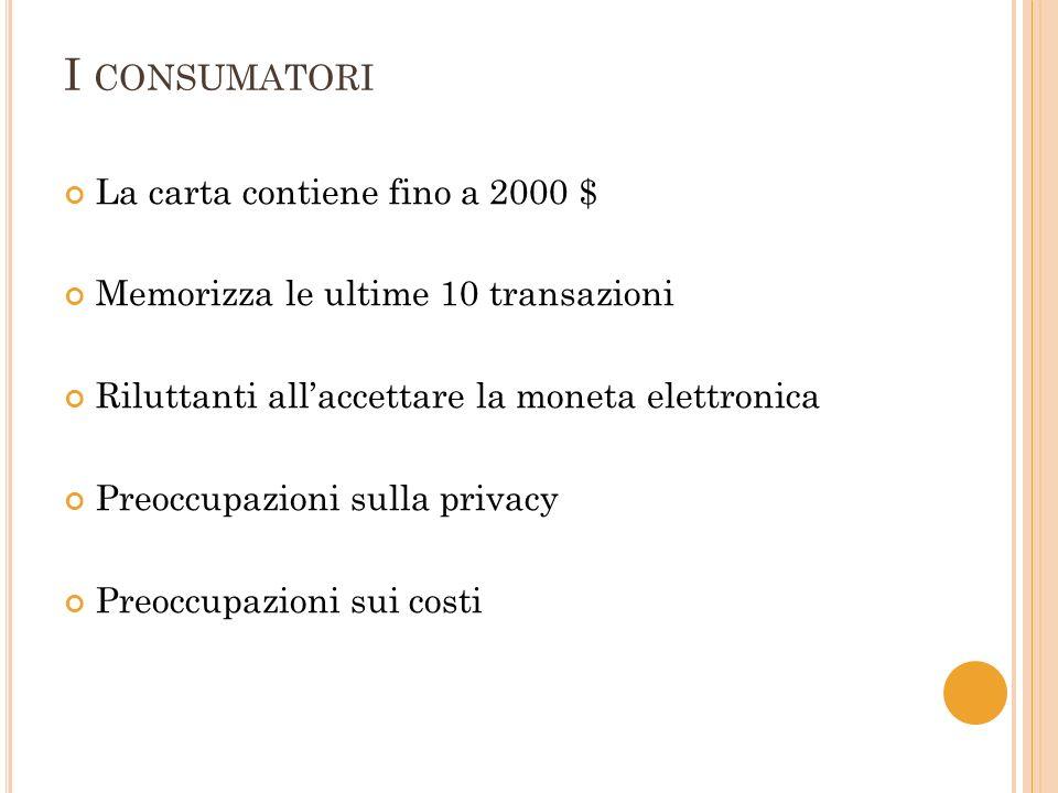 I CONSUMATORI La carta contiene fino a 2000 $ Memorizza le ultime 10 transazioni Riluttanti allaccettare la moneta elettronica Preoccupazioni sulla privacy Preoccupazioni sui costi