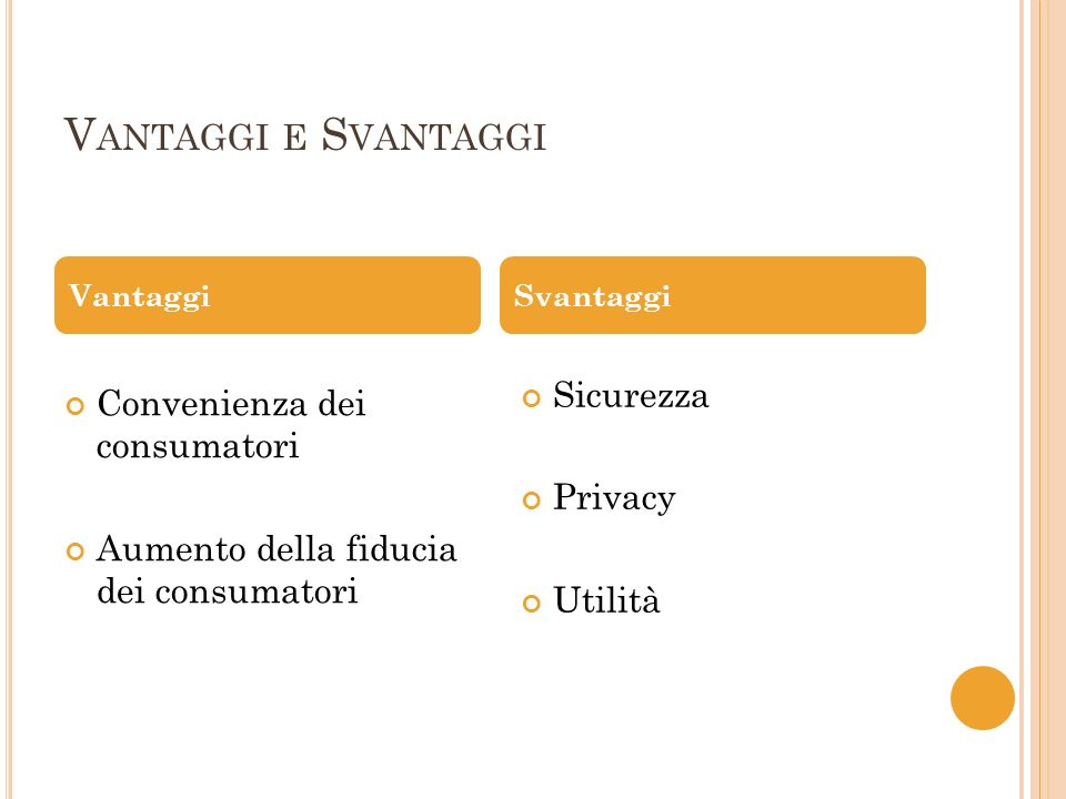 V ANTAGGI E S VANTAGGI Convenienza dei consumatori Aumento della fiducia dei consumatori Sicurezza Privacy Utilità VantaggiSvantaggi