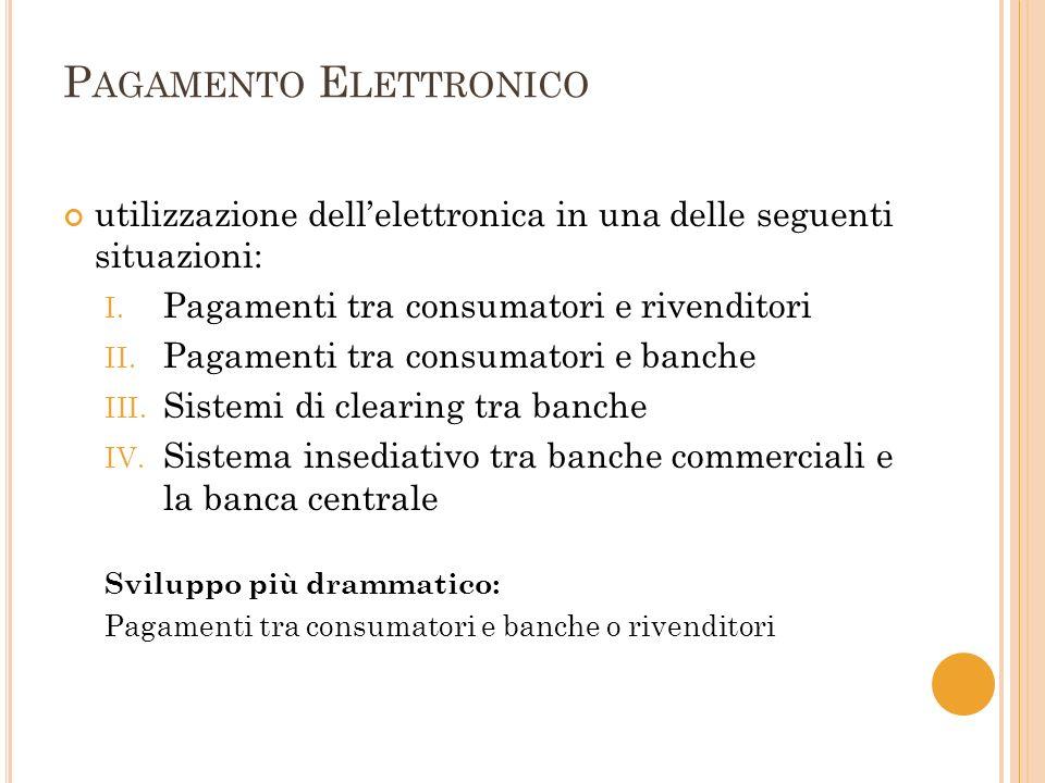 P AGAMENTO E LETTRONICO utilizzazione dellelettronica in una delle seguenti situazioni: I.