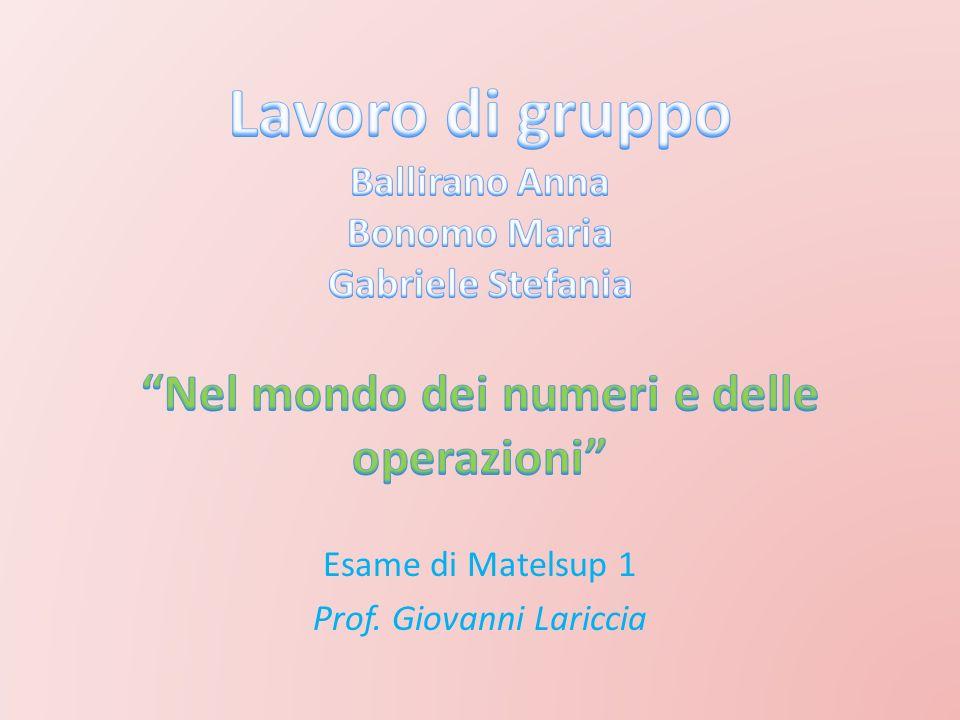 Esame di Matelsup 1 Prof. Giovanni Lariccia