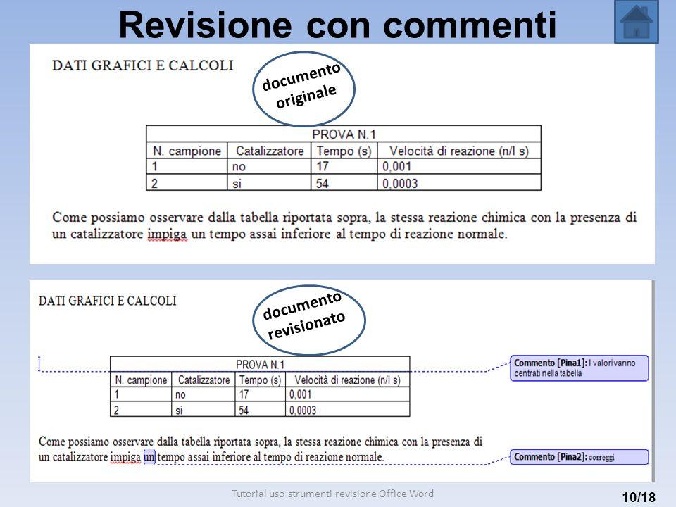 Revisione con commenti 10/18 documento originale documento revisionato Tutorial uso strumenti revisione Office Word
