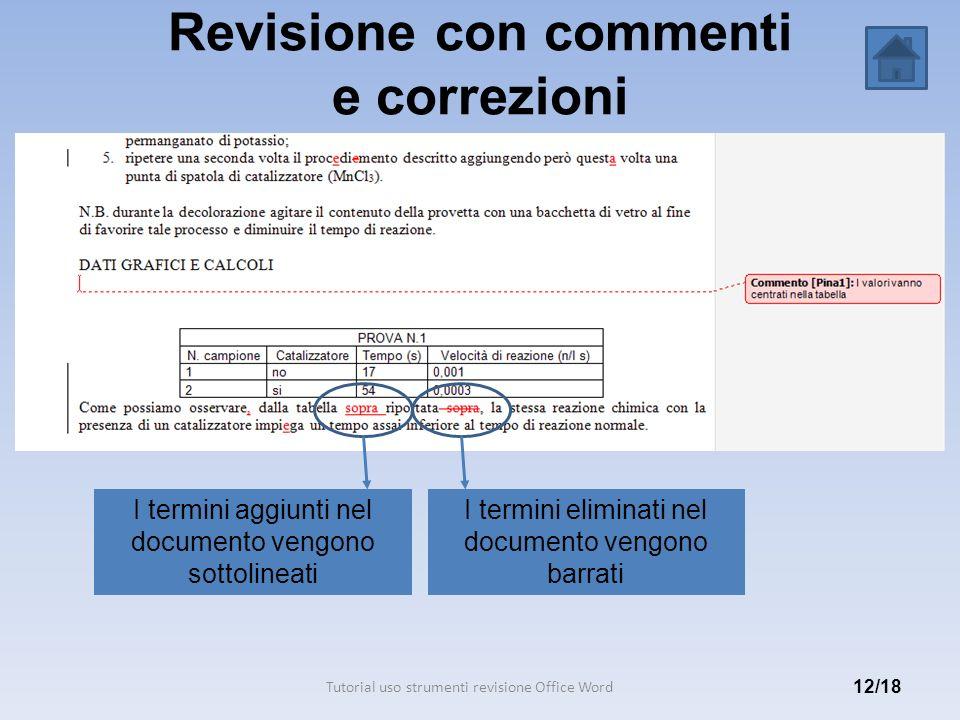 Revisione con commenti e correzioni 12/18 I termini aggiunti nel documento vengono sottolineati Tutorial uso strumenti revisione Office Word I termini