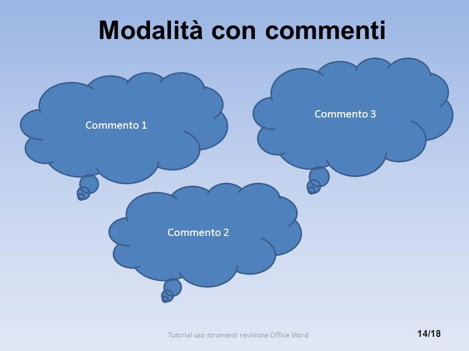 Modalità con commenti 14/18 Commento 1 Commento 2 Commento 3 Tutorial uso strumenti revisione Office Word