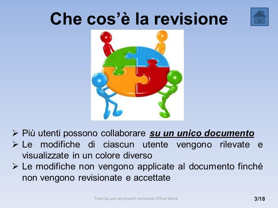 Che cosè la revisione 3/18 Più utenti possono collaborare su un unico documento Le modifiche di ciascun utente vengono rilevate e visualizzate in un c