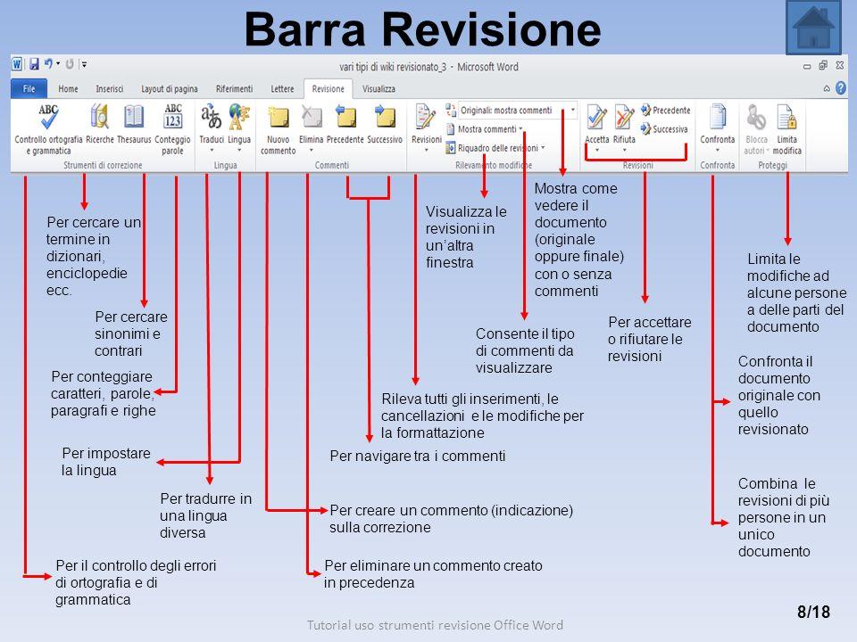 Barra Revisione 8/18 Per creare un commento (indicazione) sulla correzione Per eliminare un commento creato in precedenza Per il controllo degli error
