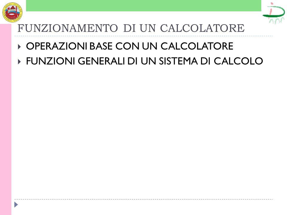 FUNZIONAMENTO DI UN CALCOLATORE OPERAZIONI BASE CON UN CALCOLATORE FUNZIONI GENERALI DI UN SISTEMA DI CALCOLO