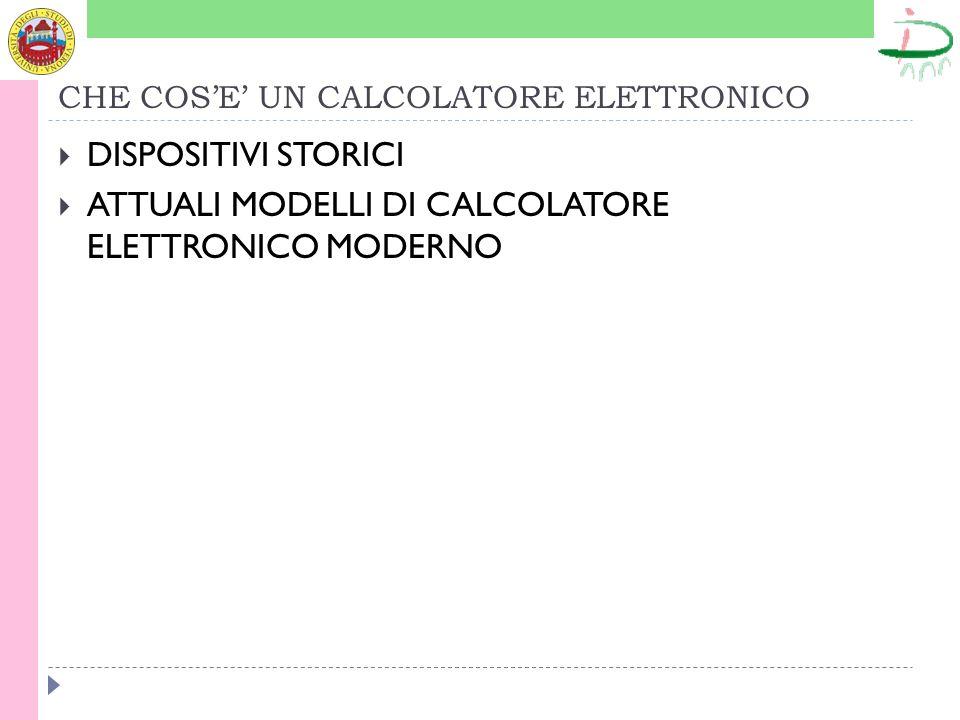 CHE COSE UN CALCOLATORE ELETTRONICO DISPOSITIVI STORICI ATTUALI MODELLI DI CALCOLATORE ELETTRONICO MODERNO