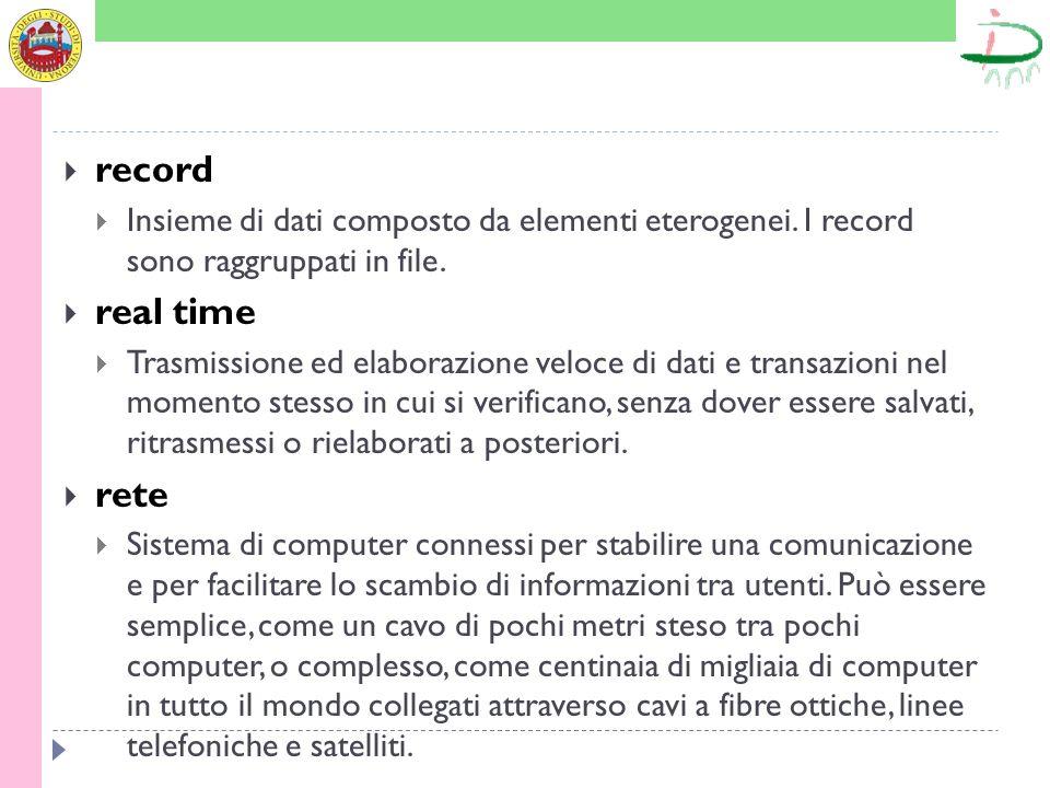 record Insieme di dati composto da elementi eterogenei. I record sono raggruppati in file. real time Trasmissione ed elaborazione veloce di dati e tra