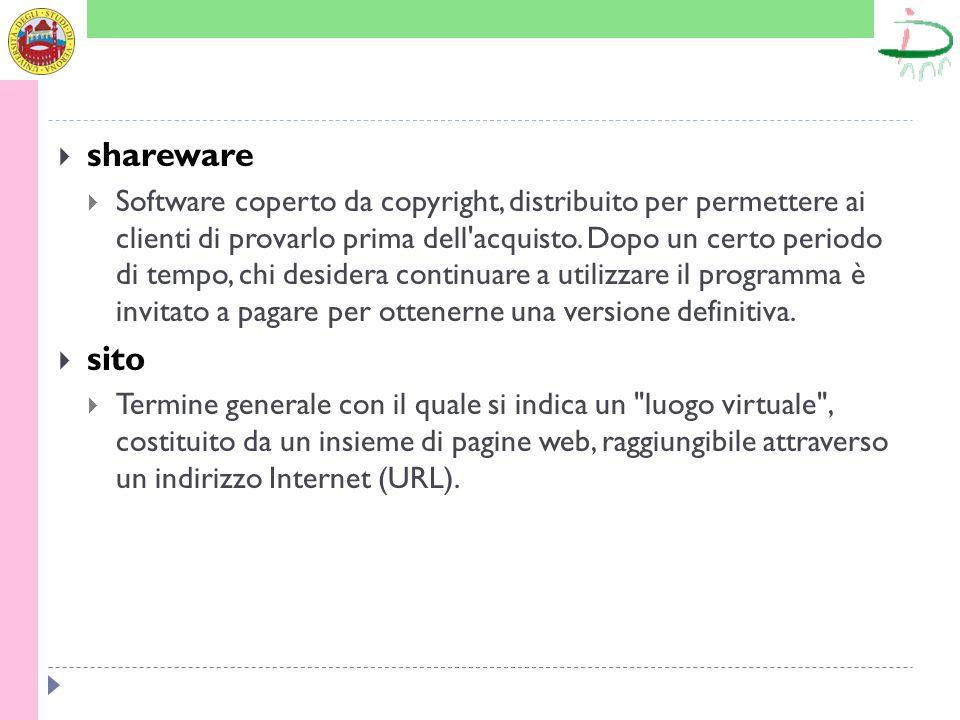 shareware Software coperto da copyright, distribuito per permettere ai clienti di provarlo prima dell'acquisto. Dopo un certo periodo di tempo, chi de