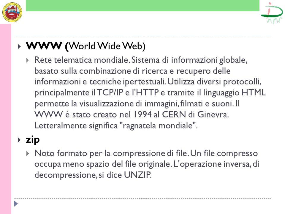 WWW (World Wide Web) Rete telematica mondiale. Sistema di informazioni globale, basato sulla combinazione di ricerca e recupero delle informazioni e t