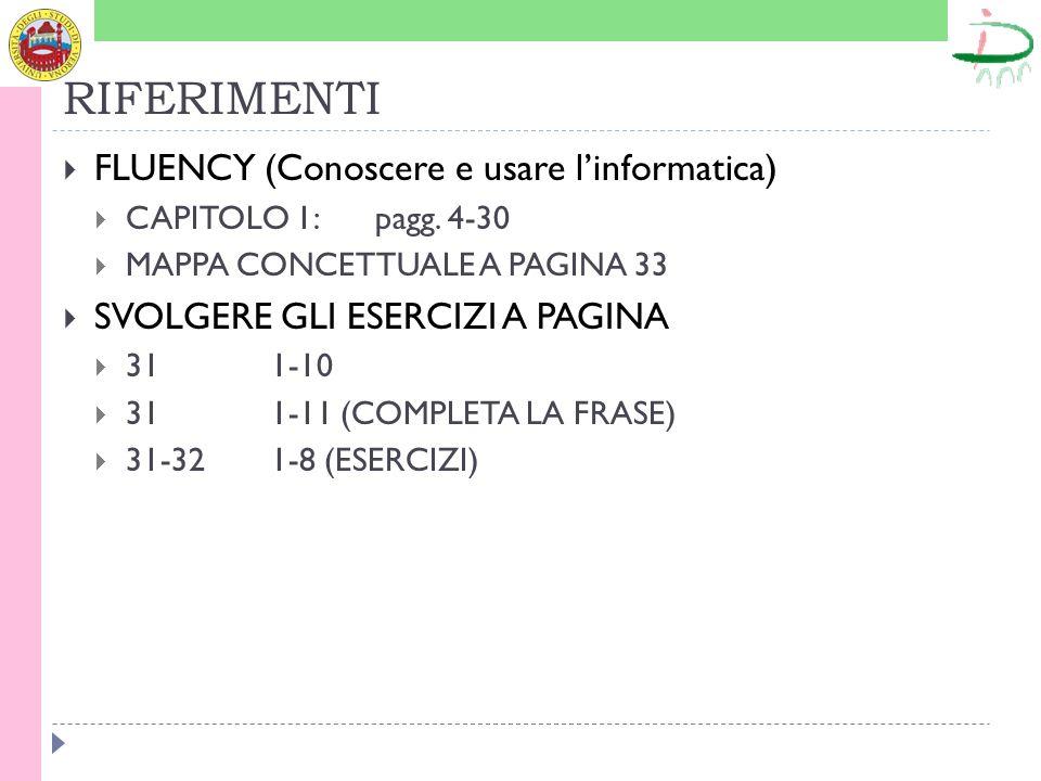 RIFERIMENTI FLUENCY (Conoscere e usare linformatica) CAPITOLO 1: pagg. 4-30 MAPPA CONCETTUALE A PAGINA 33 SVOLGERE GLI ESERCIZI A PAGINA 311-10 311-11