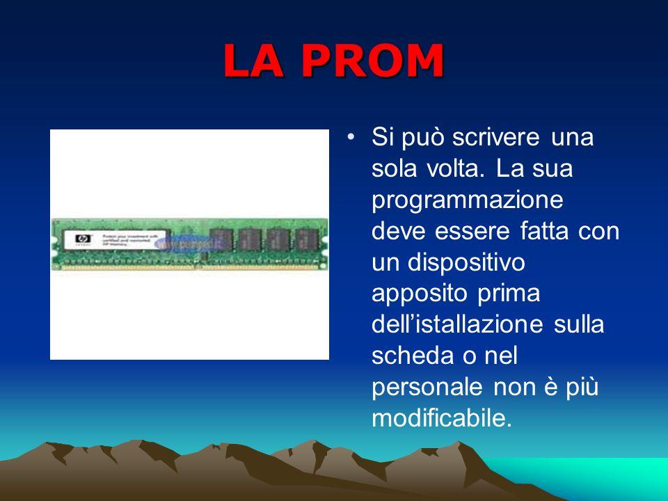 LA PROM Si può scrivere una sola volta. La sua programmazione deve essere fatta con un dispositivo apposito prima dellistallazione sulla scheda o nel